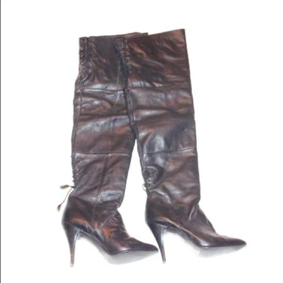 a808d615e66bc 80s vintage corset Thigh High Rocker Biker Boots
